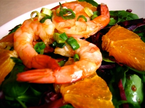 Sesame Ginger Spinach Salad with Shrimp & Oranges Low Fat Recipe